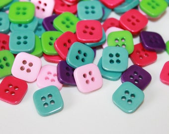Square buttons, 20 pcs 11 mm assorted color buttons, tiny 4 hole square shape baby buttons, buttons for arts and crafts, embellishments