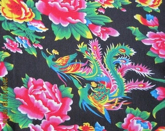 fabric Peony Chinese traditional black 0.5 m