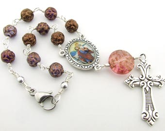 Car Rosary - Saint Christopher Patron Saint of Travelers Auto Rosary - Unbreakable One Decade Pink Purple Rosary Beads - Catholic Gift