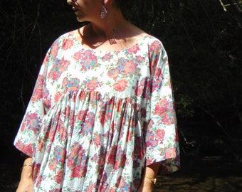 Rose print Shirt/Ruffles Shirt/Women Shirt/Shirts/Loose Shirt/Plus size Shirt/Maxi size Shirt/Oversize Shirt Top/Floral Top/Cotton shirt /