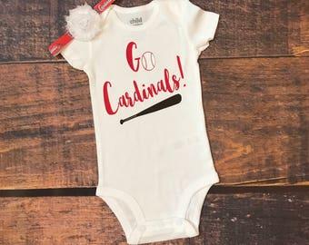 Go Cardinals, St. Louis cardinals, cards, cardinals bodysuit, Cardinals shirt, baseball shirt, baseball bodysuit
