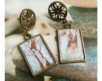 "Bronze earring rectangle Locket paint ""Choices and growing"" from my original watercolor paintings"