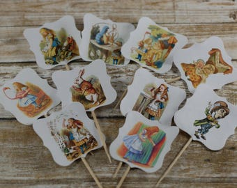 Alice in Wonderland cupcake toppers, Alice in Wonderland cupcake picks, Alice in Wonderland cupcake