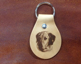 Laser Engraved Yellow Lab Leather Keychain