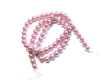 22 IN LILAC 6 MM CLEAR GLASS ROUND BEADS