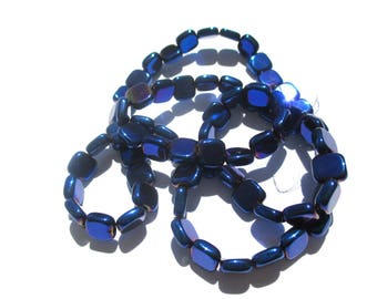 20 TINTED PASTILLES SMOOTHED GLASS ROYAL BLUE 4 MM SQUARE HEMATITE BEADS