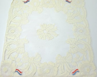 SQUARE POUCH LACE OF CALAIS, OFF WHITE FLOWER BOW FLAG 20 / 20CM