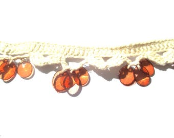 LACE CROCHET EMBROIDERED SEQUIN OVAL NATURAL MORDORE CHESTNUT 4 CM LENGTH 18 CM