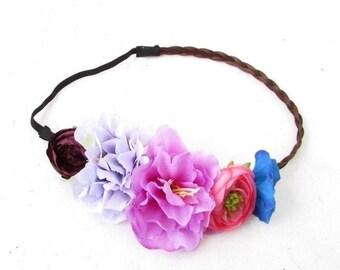 Brown Plaited Purple Blue Rose Flower Headband Garland Boho Festival Crown 4968