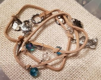 Leather Wrap Bracelet with Beads and Charms