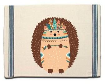 Tribal Hedgehog Kitchen Towel,Dish Towel, Tea Towel, Flour Sack Material,Woodland Animals Dish Towels,Flour Sack Kitchen Towel, Dish Cloth