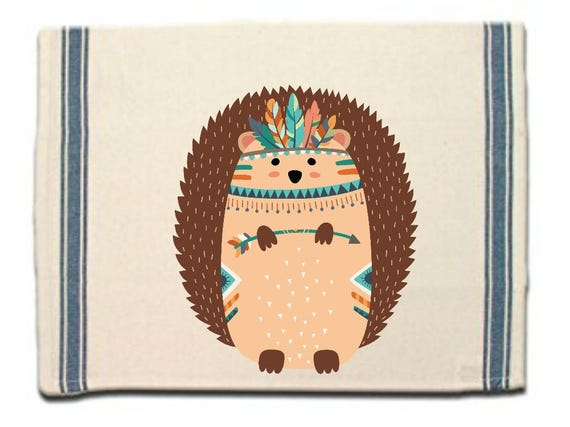 Tribal Hedgehog Kitchen Towel,Dish Towel, Tea Towel, Flour Sack Material,Woodland Animals Dish Towels,Flour Sack Kitchen Towel, Dish Cloth