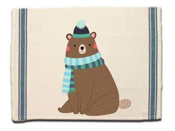 Bear in Scarf Kitchen Towel|Dish Towel| Tea Towel| Flour Sack Material| Woodland Animals Dish Towel| Flour Sack Kitchen Towel|Dish Cloth