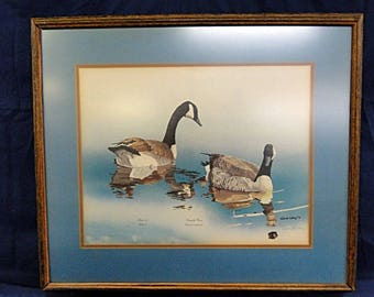 1973  Canada Geese Print by Gene Gray