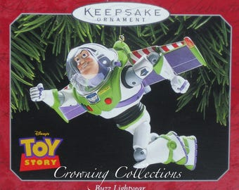 1997 Hallmark Hallmark Buzz Lightyear Toy Story Keepsake Ornament Disney Pixar MIB HTF ANDY signed shoe Vintage Christmas