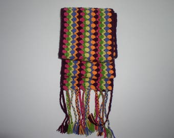 Multicolored crochet wool and acrylic scarf