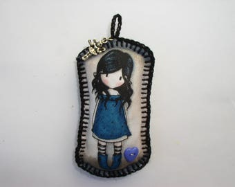 key fob, small hanging blue girl