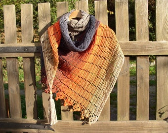 shawl, scarf / crochet cotton gradient colors of autumn