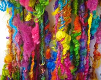 "Luxe Locks Handspun Art Yarn/ ""Bright Rainbow""/ Rainbow Yarn/ Lock Spun Yarn/Teeswater/ Kid Mohair/ Merino/ Cotswold"