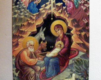 """Nativity of Christ, orthodox icon,hand-painted of hot colors directly on solid wood 18x24x2 см ( 7.0""""x 9.5""""x0.8"""" )"""