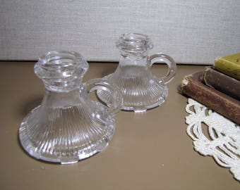 Pair of Small Glass Candle Holders - Finger Loops - Vertical Ribbed Design.