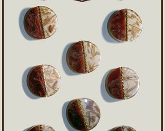 Set of 8 buttons in two different colors plastic 18 mm