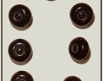 Set of 6 vintage mushroom buttons plastic Brown 14 mm