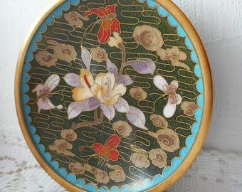 Vintage small hand decorated cloisonne plate / dish