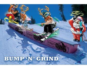 SKI CHRISTMAS CARD - Bump 'n' grind! Funny Christmas card