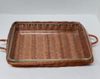 Vintage Glasbake USA Casserole Baking Pan, Bakeware, with Basket holder,3 Quart Baking Dish , 1970s, Casserole, Glass Ovenware (K183)