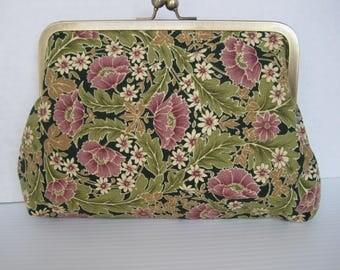 Handbag, Clutch Purse, Pink and Green Fabric, Handmade, Women's Accessories, Cotton Print, Evening Bag, Ladies Gift