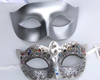 Silver Crystal Pair of Masquerade Masks