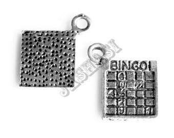 15 Bingo Card Tibetan Silver Charms (495)