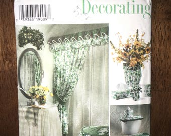Vintage Uncut 1996 Simplicity Home Decorating Sewing #7183 Bathroom  Ensemble   Shower Curtain Sink