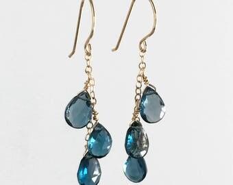 Blue Dangle Earrings for Women - Wife Blue Gift - Blue Earrings for Women - London Blue Topaz Earrings - Long Earrings for Women