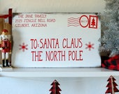 Personalized Santa Letter Wood Sign, Red and White Christmas Decorations, Distressed Santa Claus Mail, Over sized Santa Letter Sign, Rustic