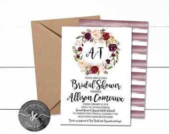 Bridal Shower Invitations, Floral Invitations, Bridal Shower, Bridal Brunch, Printable, Downloadable