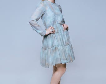 Handmade Cloud Print Dress by Ellie Day Collection