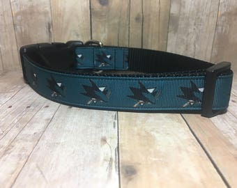 "The Sharkie | Designer 1"" Width Dog Collar | CupcakePups Collars | Medium/Large Dog Collar - Hockey - Sharks"