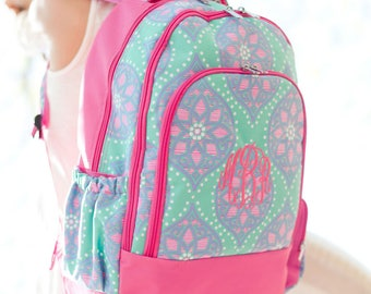 Monogrammed Backpack Personalized Book Bag Back To School Pink Multicolored Girls Highway12Designs