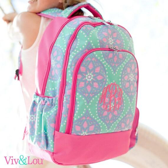 Monogrammed Backpack Personalized Book Bag Back To School Pink Multicolored Backpack Girls Backpack School Backpack Highway12Designs