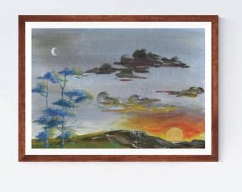 Sunrise by Essie Lee, print, original artwork, sunset, nature, outdoors, orange, yellow, blue, vintage, gift, retro