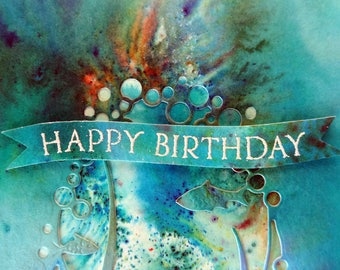 Ocean happy birthday card with underwater ocean scene cutout