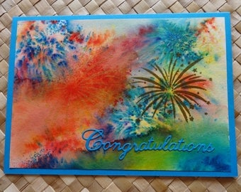Congratulations card with fireworks background