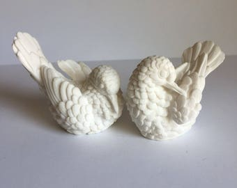 Vintage Carved Alabaster Birds-Lovebirds-Italian-Wedding Gift