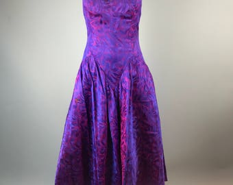 Vtg 80s Strapless Prom Gown Dress Purple Floral Shiny Basque Waist Sweetheart 10