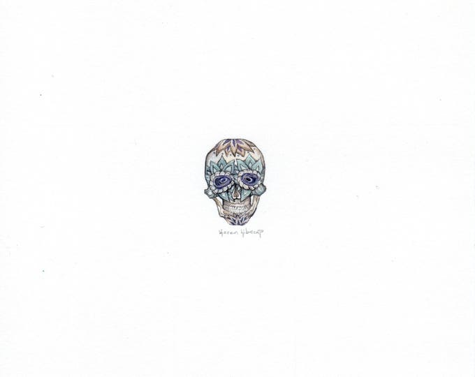 Print of Miniature painting of a Sugar Skull, tiny painting anatomy skull  5 x 5