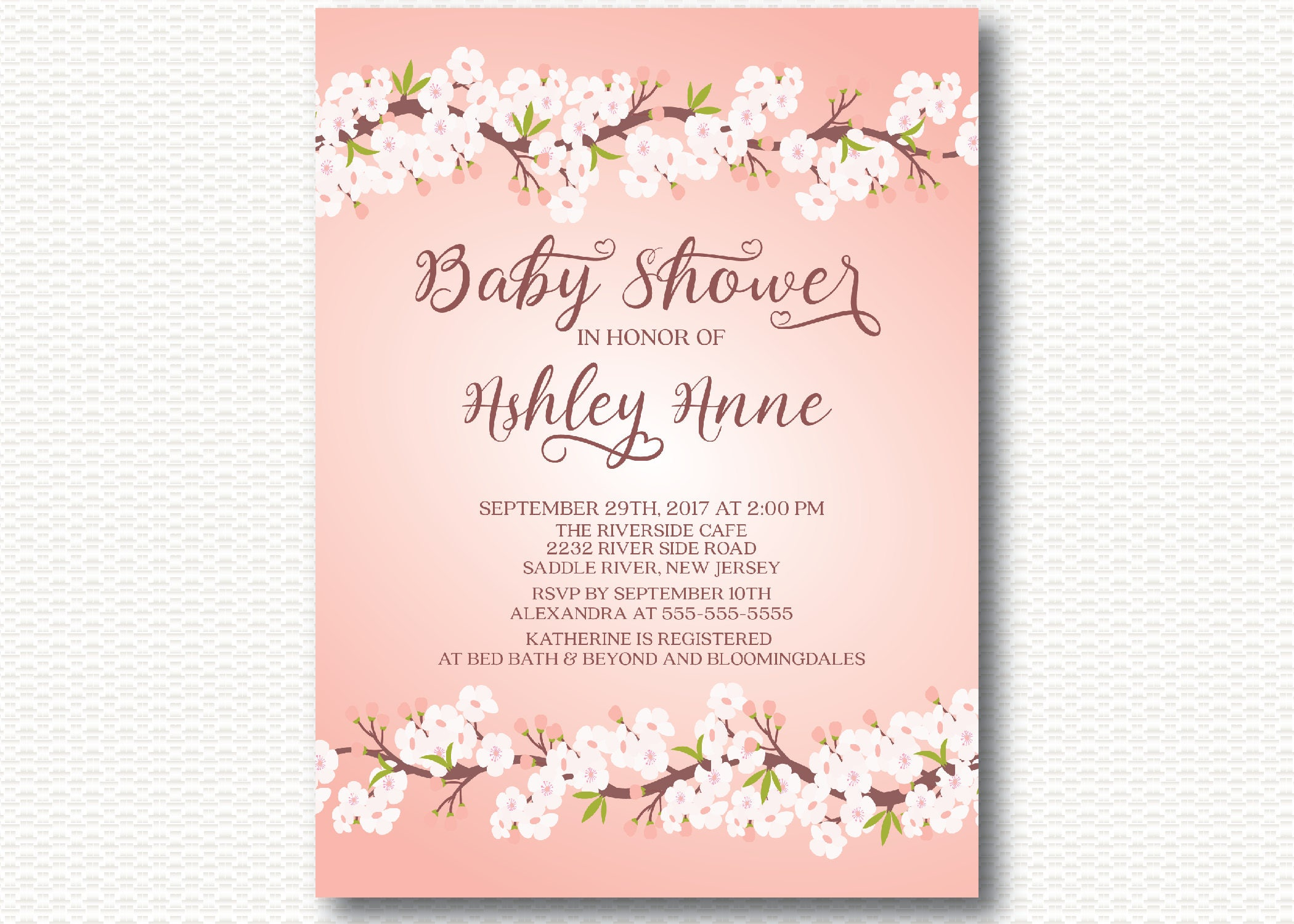Pink cherry blossom baby shower invitation flowers pretty floral pink cherry blossom baby shower invitation flowers pretty floral modern girls filmwisefo