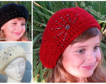 Crochet Pattern 144 - Crochet Hat Pattern Embroidered Beaded Beret - French Beret - Slouchy Hat - Child Teen Adult Ladies Women Red Black