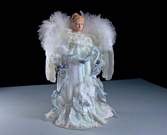 Porcelain Christmas Angel, Dan Dee, Tree Topper, Feather Wings, Christmas Decoration, 12 Inches Tall, Centerpiece, Holiday Angel